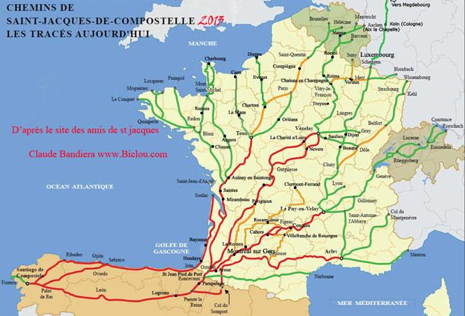 Carte des chemins de randonn e vers st jacques de - Office du tourisme saint jacques de compostelle ...