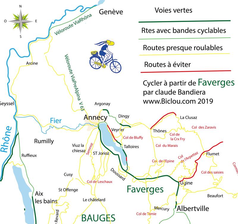 Cyclotourisme La Carte De La Piste Cyclable Annecy Faverges Ugine Du Lac D Annecy